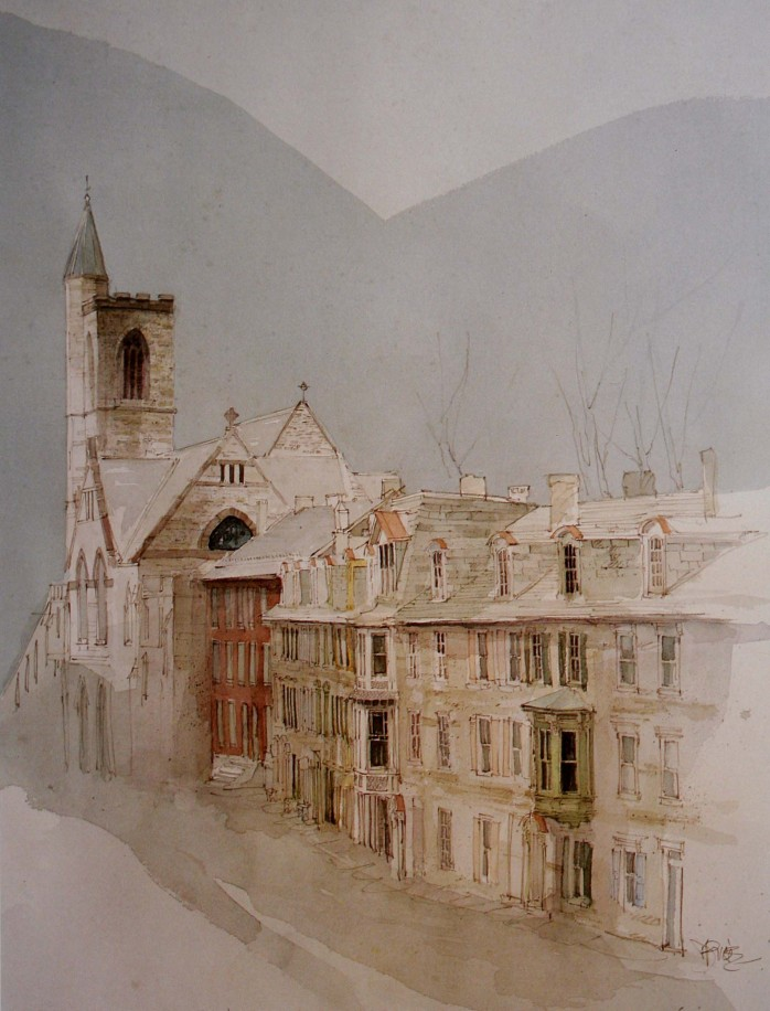 Watercolor print of St Mark's and historic Race Street
