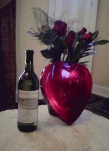 wine, flowers, chocolate