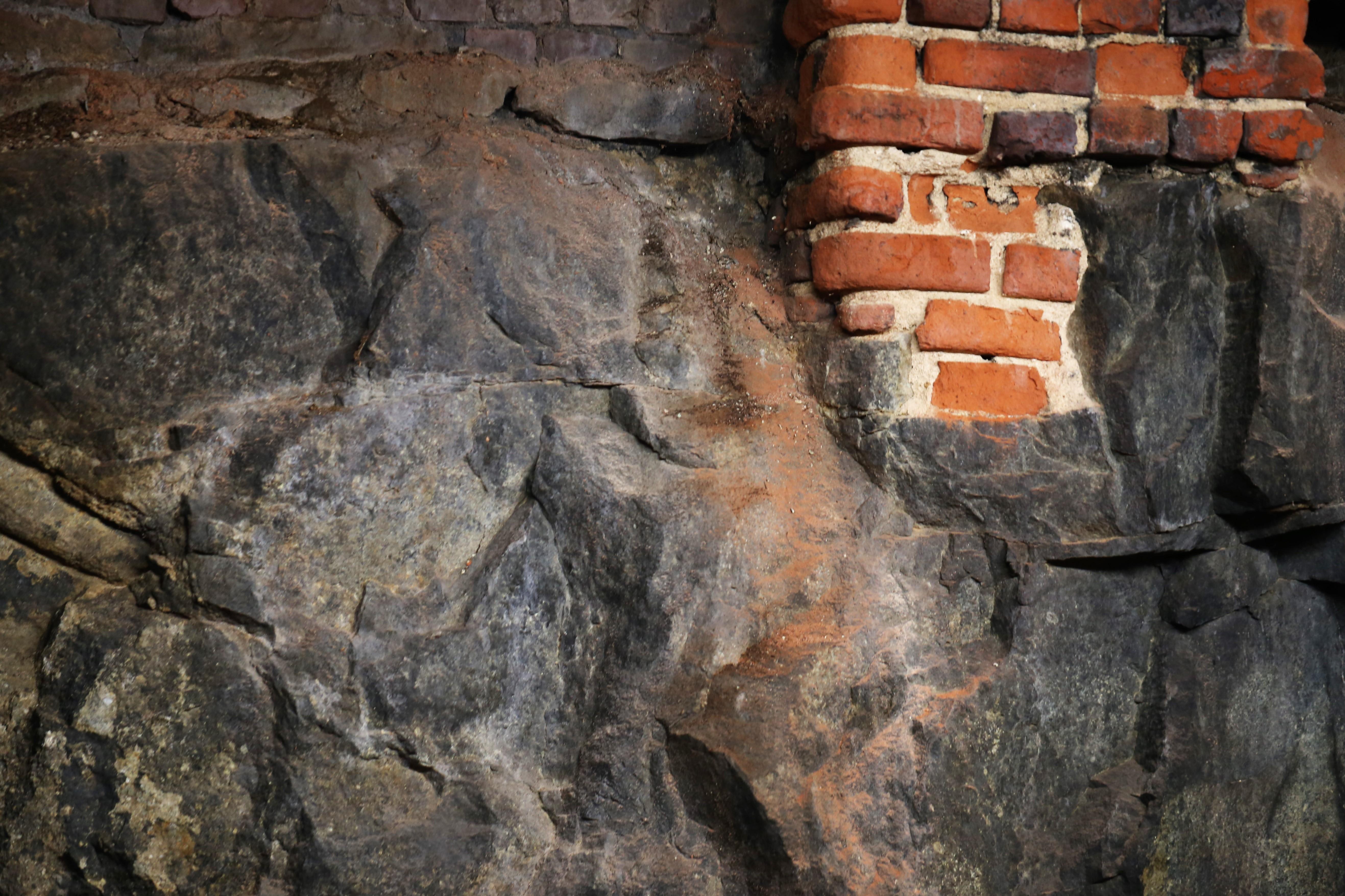 Bricks on mountain foundation of St. Mark's Episcopal Church