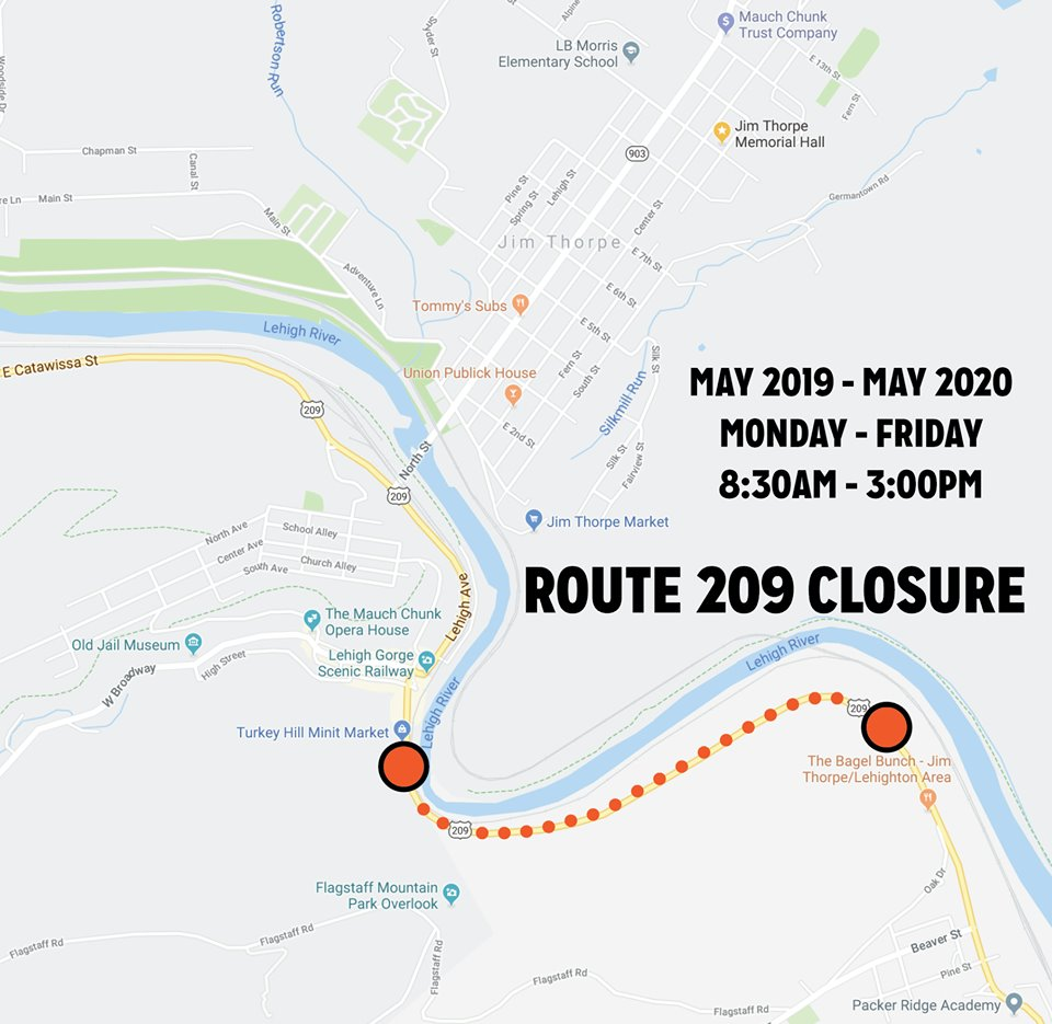 Route 209 construction closure map