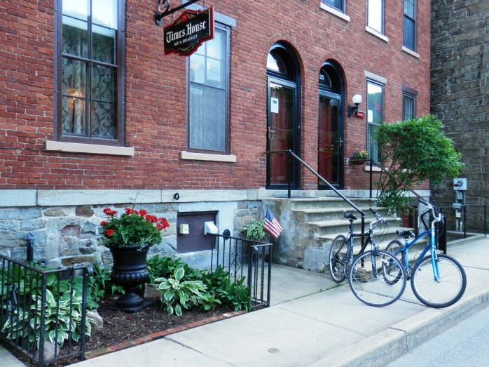 Exterior of the Times House with bicycles out front