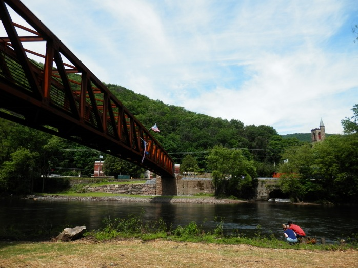 Picture of the Mansion House Pedestrian Bridge connecting the D&L Trail in Jim Thorpe, PA