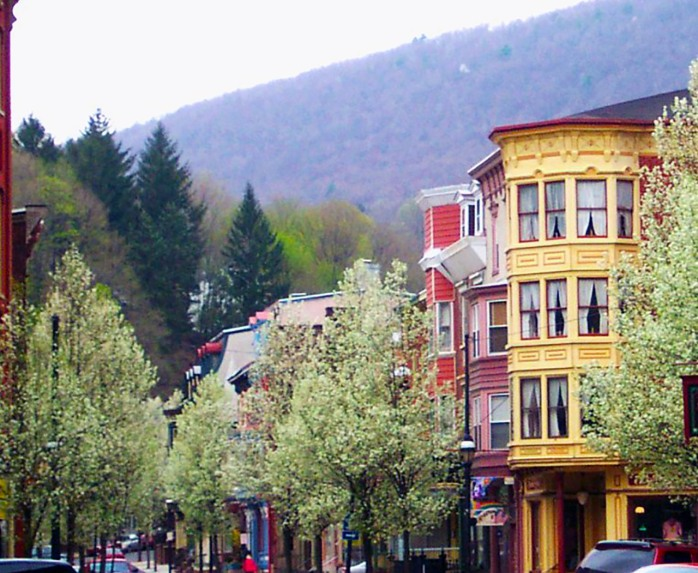 Broadway with trees in bloom