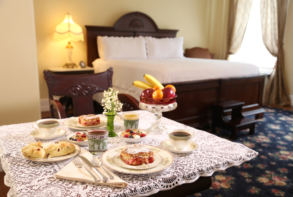 Times House in-room Continental breakfast is enjoyed at a private table for two set with china and silver